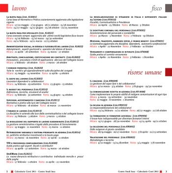 Pagine interne calendario seminari e corsi