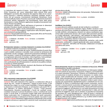 Pagine interne calendario seminari e corsi