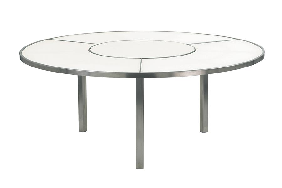 Tavolo OZN185 con piano in ceramica bianca.