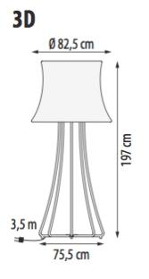 Lampada 3D, misure