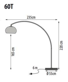 Lampada 60T, misure