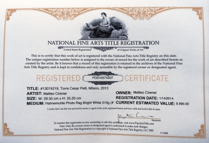 National Fine Arts Title Registration Certificate