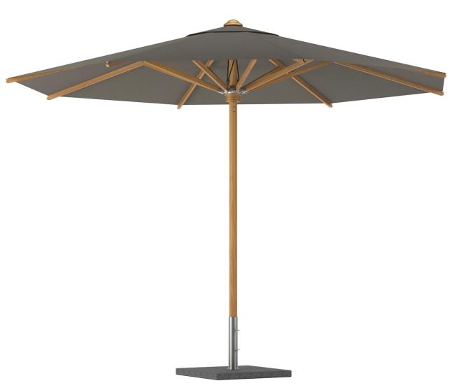 Il nuovo ombrellone Shady con palo e stecche in teak